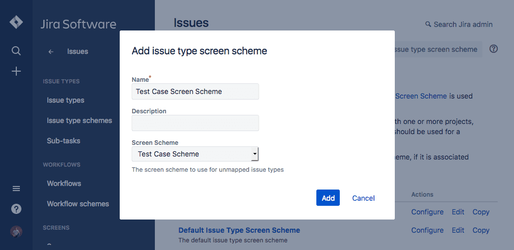 Add issue type screen scheme-jira