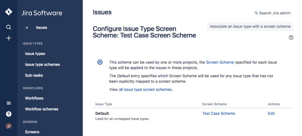 Configure issue type screen scheme test case jira