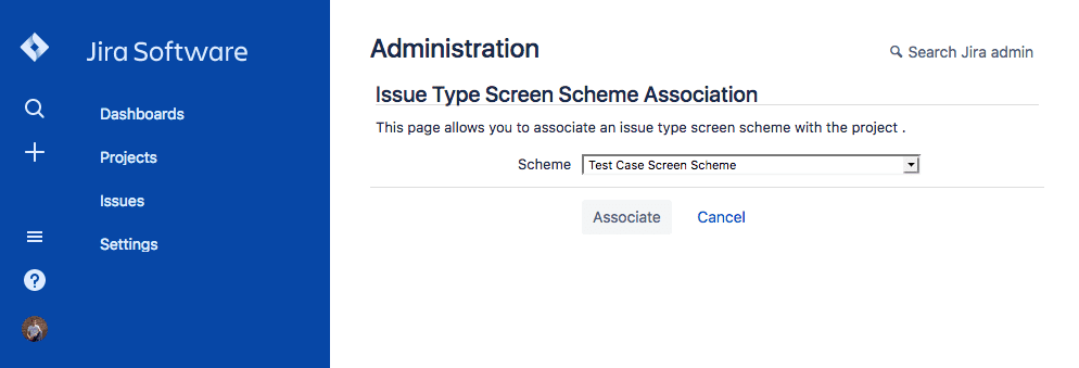 Select issue type screen scheme